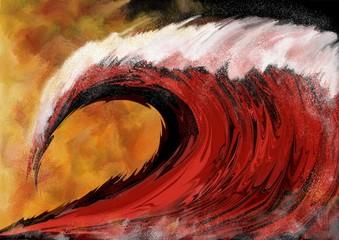 Obraz na SzkleVague rouge déferlante de tempête sur fond embrasé évoquant la submersion ou un tsunamis