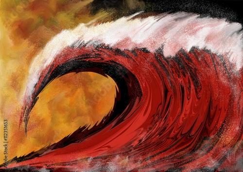 Fotografie, Obraz  Vague rouge déferlante de tempête sur fond embrasé   évoquant la submersion ou u