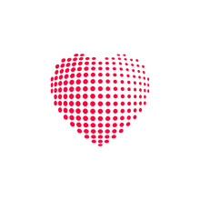 Dotted Heart, Red Heat Dots Icon, Abstract Heart Shape Modern Design Vector Illustration Isolated On White Background