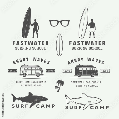 Set of vintage retro surfing, summer and travel logos