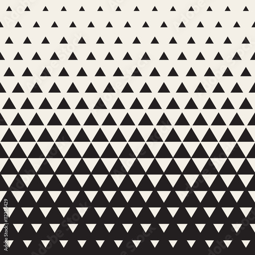 fototapeta na ścianę Vector Seamless White to Black Transition Triangle Halftone Gradient Pattern