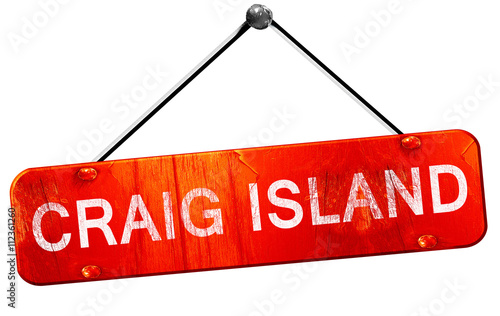 Craig island, 3D rendering, a red hanging sign Canvas Print