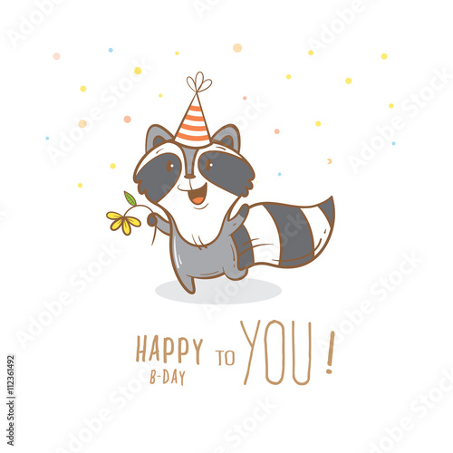 Birthday Card With Cute Cartoon Raccoon In Party Hat Little Funny