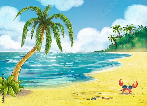 Fotobehang Zwavel geel playa con palmeras