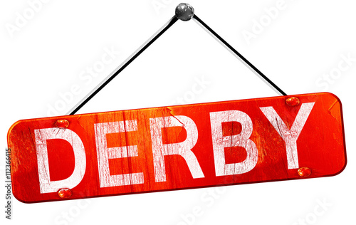 Leinwand Poster Derby, 3D rendering, a red hanging sign