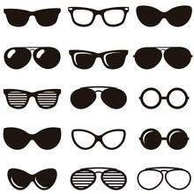 Set Of Black Retro Sunglasses ...