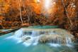 Erawan Waterfall, beautiful waterfall in deep forest, Erawan National Park in Kanchanaburi, Thailand