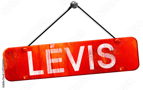 Photographie  Levis, 3D rendering, a red hanging sign