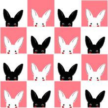 Black White Pink Rabbit Chess ...