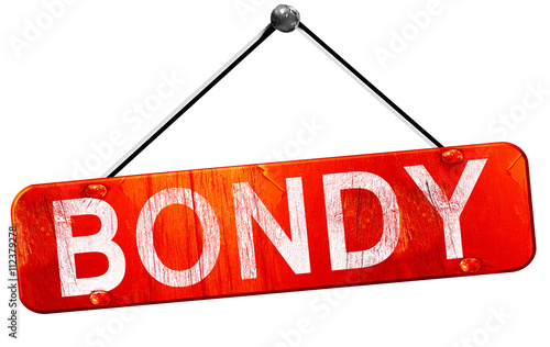 bondy, 3D rendering, a red hanging sign Canvas Print