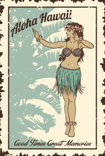 Vintage Hula Girl Dancing On T...