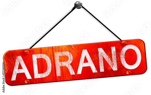 Vászonkép  Adrano, 3D rendering, a red hanging sign