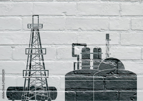 Fotografie, Tablou Art urbain , industrie pétrolière