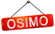 Osimo, 3D rendering, a red hanging sign
