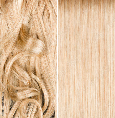 Blond hair before and after straightening