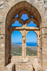 FototapetaCity view through the window of an ancient fortress, Cyprus