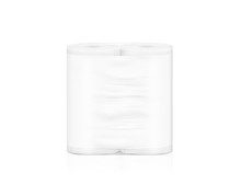 Blank White Napkin Roll Packaging Mockup, Isolated, Clipping Path, 3d Illustration. Toilet Paper Clear Package Design Mock Up Stand. Wc Lavatory Toilet Paper Rolls Packing Transparent Wrap Template.
