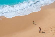 Family At Beautiful Beach Carvalho Of Algarve, Portugal