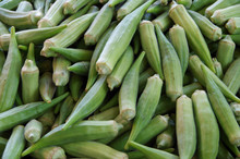Pile Of Green Okra At Market Place