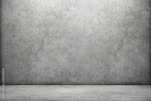 Foto op Aluminium Wand Concrete wall and floor. 3D rendering