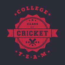 College Cricket Team Vintage Logo, Badge With Crossed Cricket Bats, Red On Dark, Vector Illustration