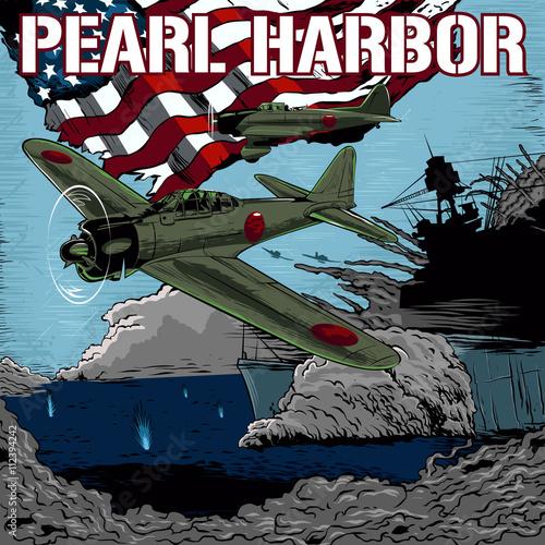 Fotografie, Obraz Attack on Pearl Harbor vector illustration.