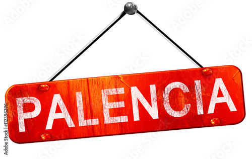 Palencia, 3D rendering, a red hanging sign
