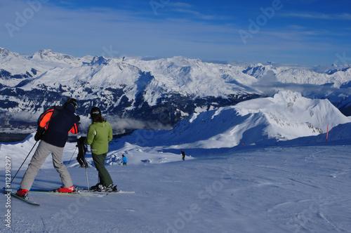 Fotobehang Wintersporten Schweizer Alpen: Wintersport Davos