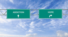 Road Sign To Addiction And Hope