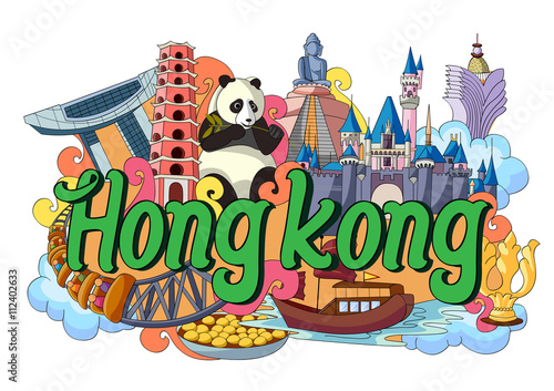 Photo  Doodle showing Architecture and Culture of Hong Kong