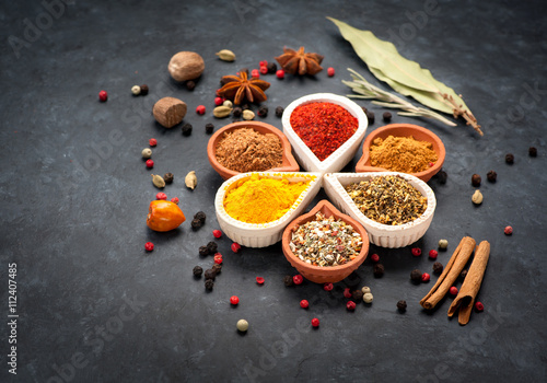 Printed kitchen splashbacks Spices Various Spices, herbs and spicy