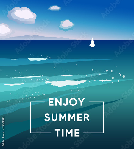Fototapety, obrazy: Vector illustration Enjoy Summer Time. Template of summer poster. Summer trendy background. Artistic hand drawn summer card. Creative flat design for poster, card, invitation, placard, brochure, flyer