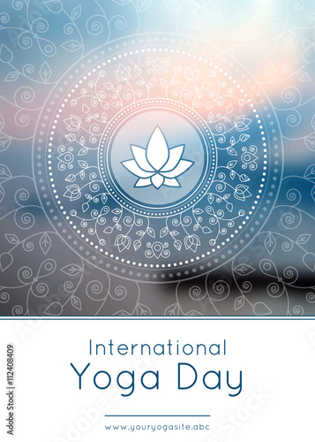 Vector Yoga Illustration Template Of Poster For International Yoga Day Flyer For 21 June Yoga Day Lotus On An Ethnic Pattern Background Linear Design Trendy Yoga Poster Banner Buy This Stock