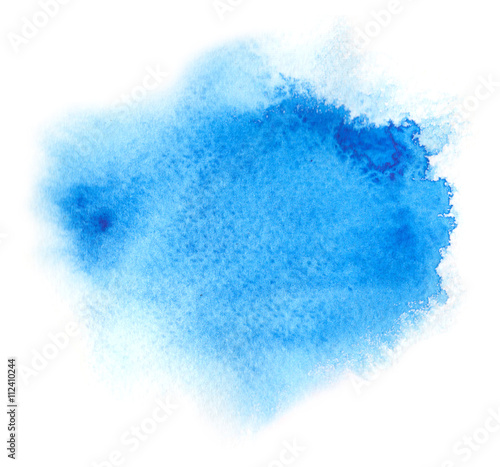Photo Vivid blue watercolor or ink stain with aquarelle paint blotch