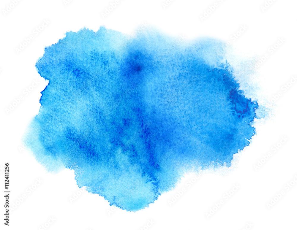 Fototapeta Vivid blue watercolor or ink stain with aquarelle paint blotch