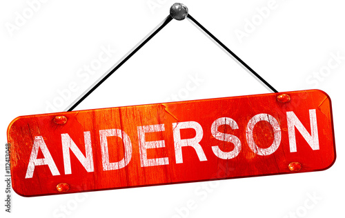 anderson, 3D rendering, a red hanging sign Canvas Print
