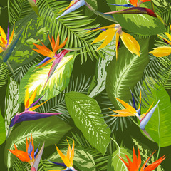 Seamless Pattern. Tropical Palm Leaves Background. Tropical Flowers