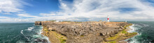 A Panorama Photograph Of Portland Bill From Pulpit Rock.