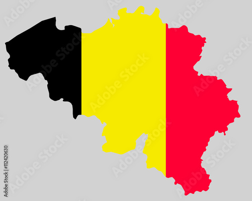 Belgium Topographic Map.Vector Kingdom Of Belgium Topographic Map Belgium Flag On Borders