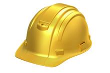 Construction Golden Hard Hat, 3D Rendering