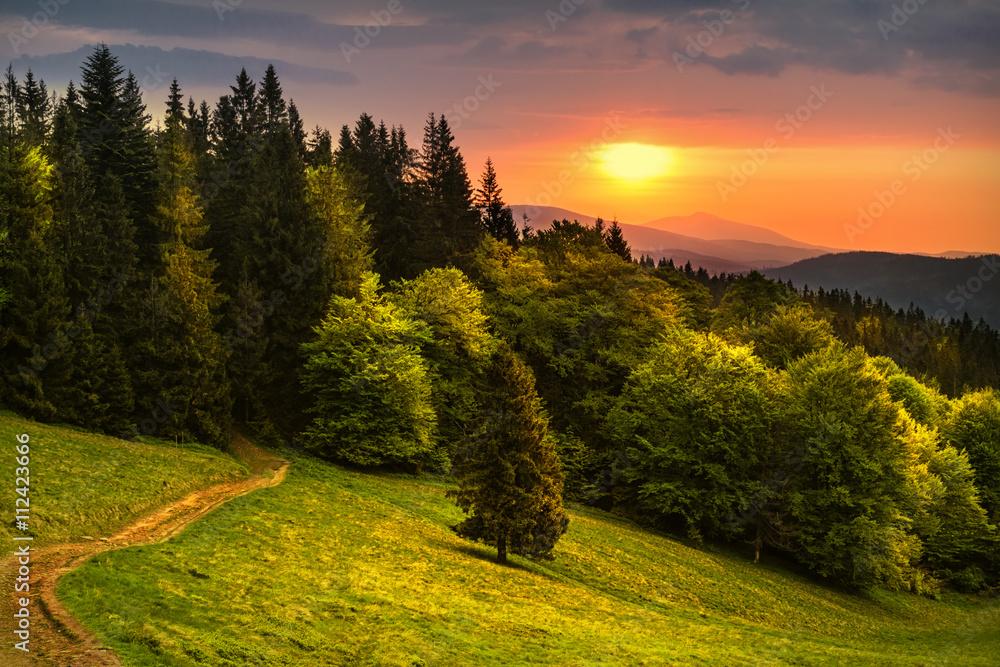 Sunrise in polish mountains