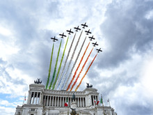 Air Show Aerobatic Italian Team Frecce Tricolore Flying Over Altare Della Patria In Rome, Italy