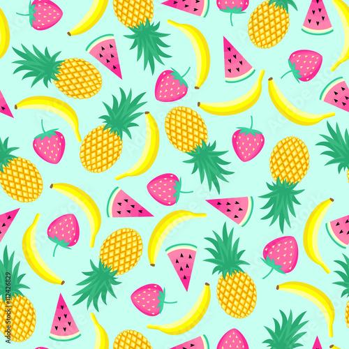 bezszwowy-wzor-z-zoltymi-bananami-ananasami-i-soczystymi-truskawkami-na-mennicy-zieleni-tle-tlo-wektor-ladny-ilustracja-jasny-lato-owoce-mieszanka-owocow-do-tkanin-i-dekoracji