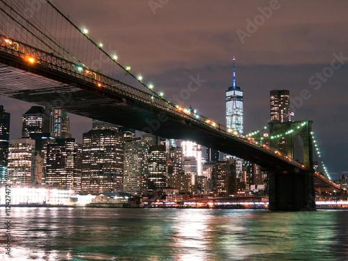 Brooklyn Bridge with WTC at Night - 112427472
