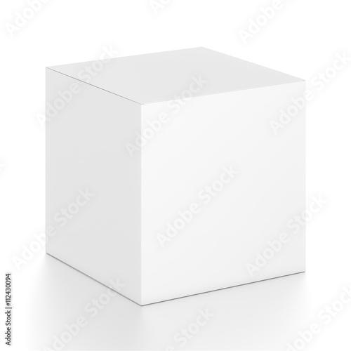 Photographie  Boîte blanche de cube blanc à partir de l'angle latéral avant supérieur
