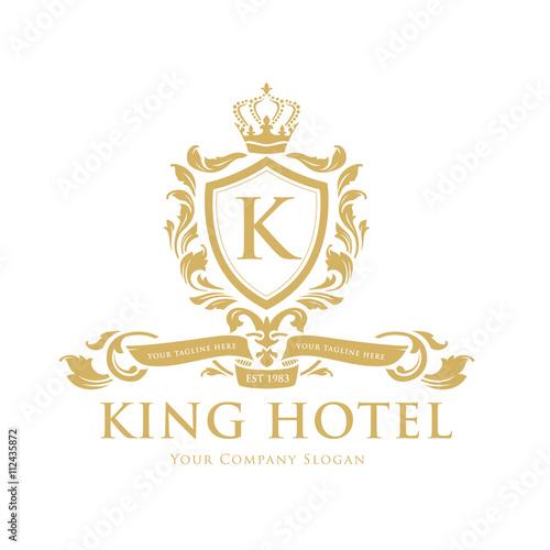 King Hotel LogoK Letter Logocrest Logoluxury Brand Design Template