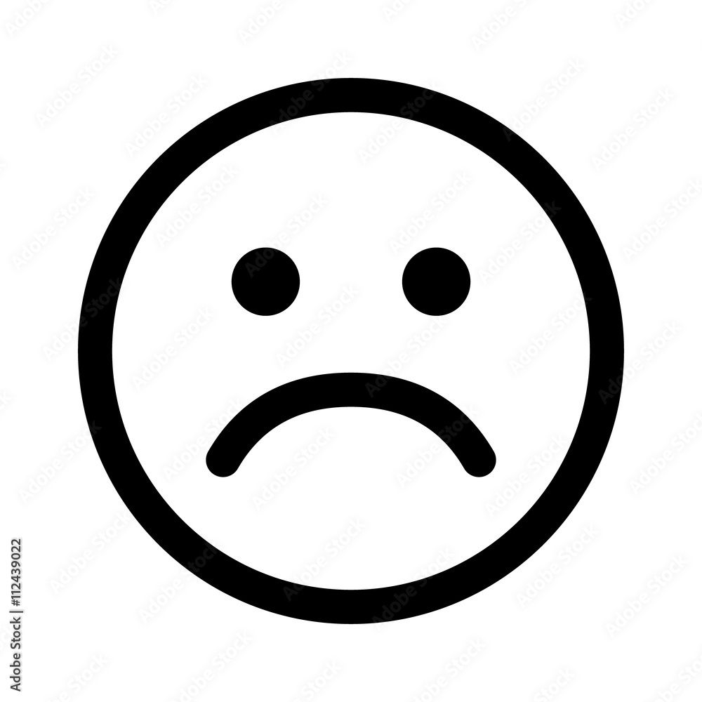 Fotografie, Obraz Sad smiley face or emoticon line art icon