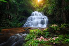 Mun Daeng Waterfall, The Beautiful Waterfall In Deep Forest At Phu Hin Rong Kla National Park In Thailand