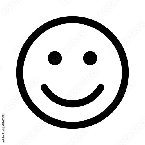 Fotografie, Obraz  Happy smiley face or emoticon line art icon for apps and websites