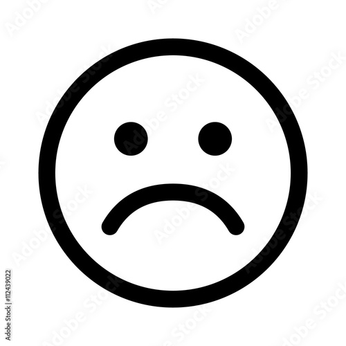 Sad smiley face or emoticon line art icon for apps and websites Wallpaper Mural